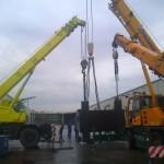 JOST Veszprém 70 tonnás présgép kitelepítése csarnokból, és trailerre daruzása (11)