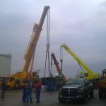 JOST Veszprém 70 tonnás présgép kitelepítése csarnokból, és trailerre daruzása (3)