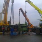 JOST Veszprém 70 tonnás présgép kitelepítése csarnokból, és trailerre daruzása (4)