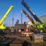JOST Veszprém 70 tonnás présgép kitelepítése csarnokból, és trailerre daruzása (5)
