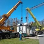 NYIRÁD transformátor állomás trailerre daruzása