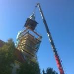 Gyepükaján templomtorony ledaruzása