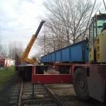 Celldömölk vasúti híd trailerről vagonra daruzása